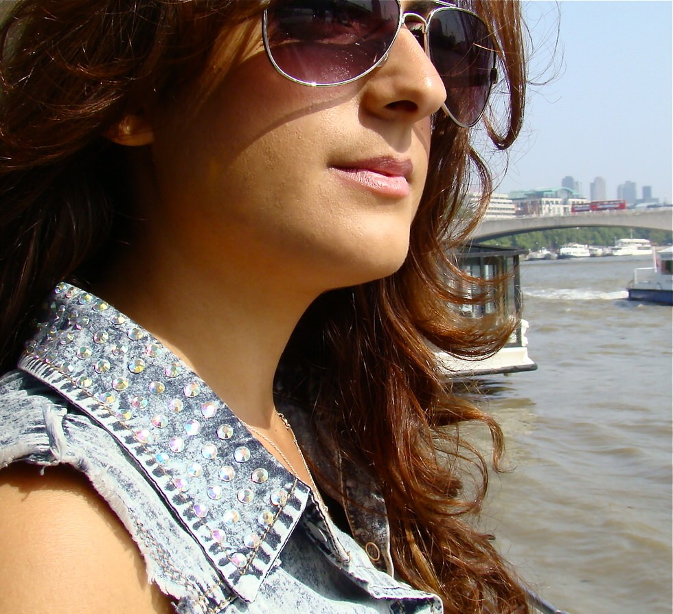 Denim Vest Studded Collar