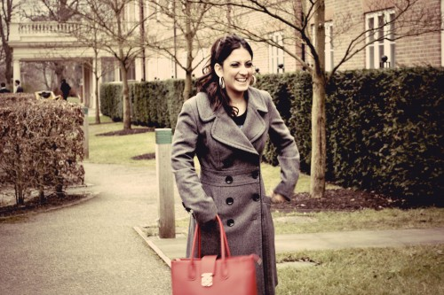 Grey Coat & Red Handbag
