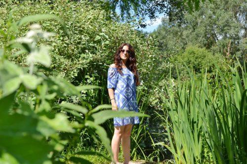 Blue Tile Print Dress