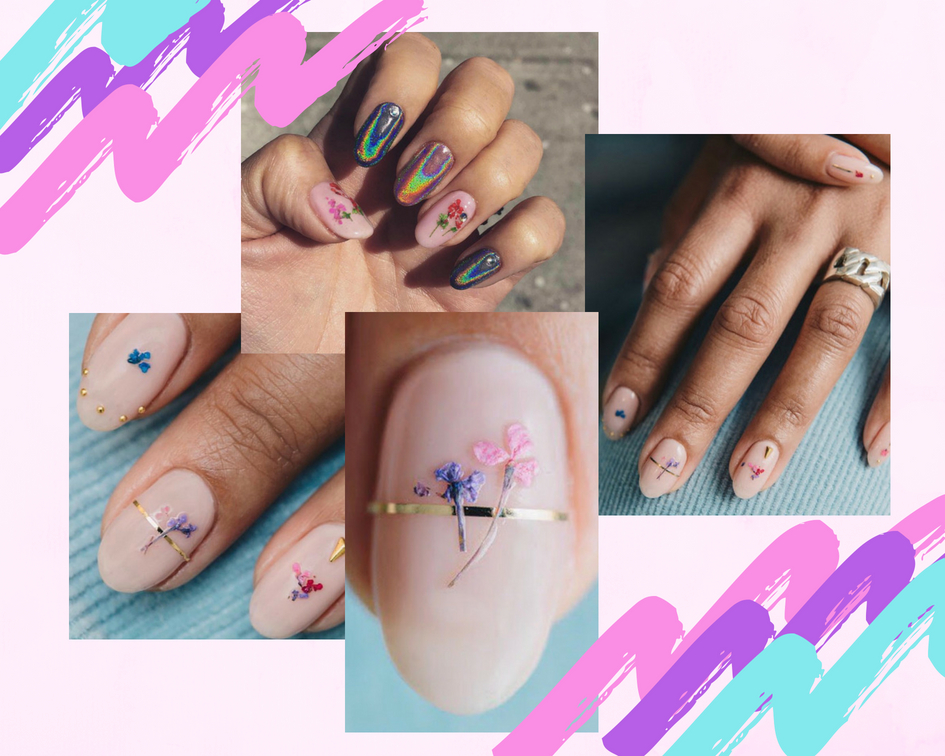 pressed flower nails - nail trend