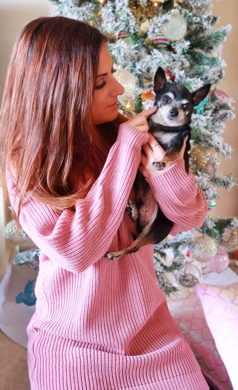 pink-dress-sweater-fashion